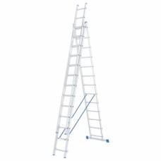 Лестница, 3 х 13 ступеней, алюминиевая, трехсекционная СИБРТЕХ Pоссия