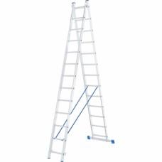 Лестница, 2 х 13 ступеней, алюминиевая, двухсекционная // СИБРТЕХ // Pоссия
