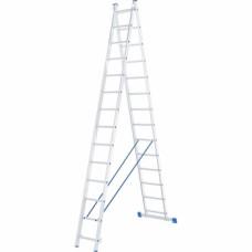 Лестница, 2 х 14 ступеней, алюминиевая, двухсекционная // СИБРТЕХ // Pоссия