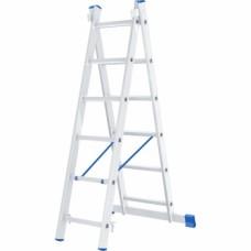 Лестница, 2 х 6 ступеней, алюминиевая, двухсекционная // СИБРТЕХ // Pоссия
