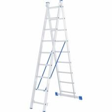 Лестница, 2 х 9 ступеней, алюминиевая, двухсекционная // СИБРТЕХ // Pоссия
